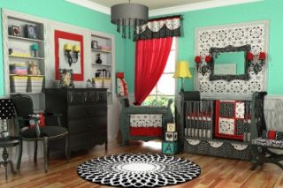 10pc Unique Black White Red Girl Crib Bedding Set New Discount Elegant