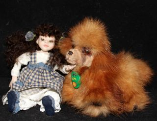 OOAK Recycled Mink Fur Mini Poodle Dog w Bed by Artist Natalya PhD