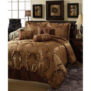 Beautiful Rich Brown Gold Hue Burnt Orange Comforter Set 7pc Queen Cal