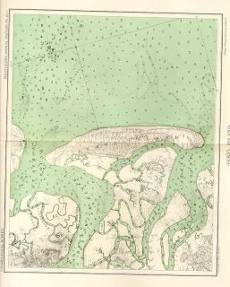 1893 Genuine Antique Color Map Jekyll Island Georgia