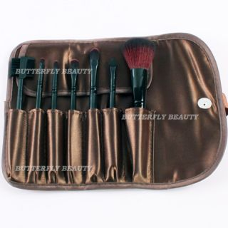 7pcs Pro Makeup Cosmetic Brushes Set Goat Hair with Coffee Leather Kit