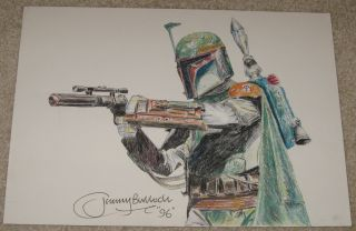 Original Star Wars Art Sketch by Jeremy Bulloch ~Signed/Autographed