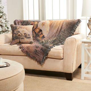 Thomas Kinkade Christmas Stonehearth Woven Pillow Blanket Throw Set