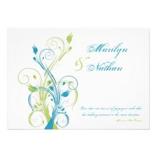 Blue Love Quote Wedding Invitation