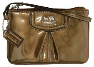 Coach Madison Patent Leather Small Wristlet Wallet Copper New