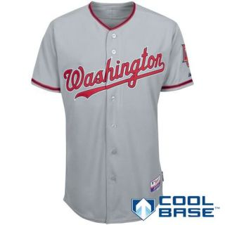 Nationals Size 60 Authentic Majestic Road / Away Grey Sewn Jersey 5XL