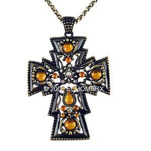 Renaissance Vintage Style Cross Necklace Large 6 Pcs
