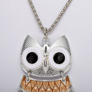Fashion Jewelry Coffee Enamel Owl Pendant Necklace