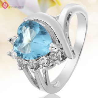 Wedding Jewelry Heart Aquamarine White Gold Plated Cocktail Ring Size