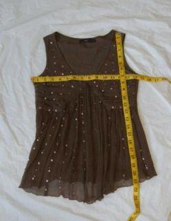 Hazel Brown Sequins Babydoll Tank Top Small Silk Nylon