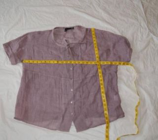 Eileen Fisher 100 Linen Blouse Shirt Large L Purple