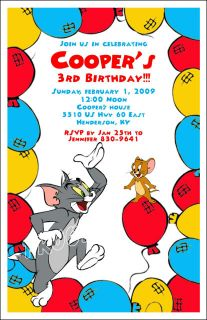 Set of 10 Tom Jerry Personalized Invitations 2