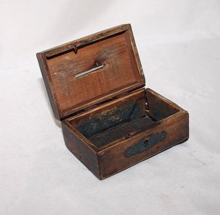Antique Wood Iron Money Box England Circa 1920