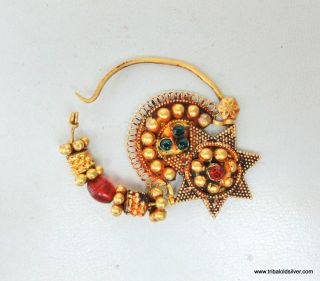 Ethnic Tribal Solid 22 Carat Gold Jewelry Nose Ring Nath India