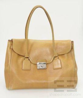 Jil Sander Tan Leather Silver Pushlock Large Shoulder Bag