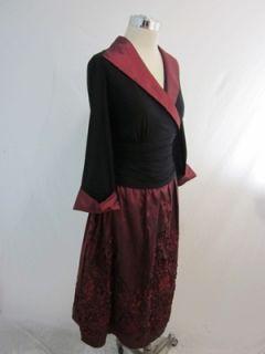 New Jessica Howard Black Red Taffeta VNeck Dress 16W
