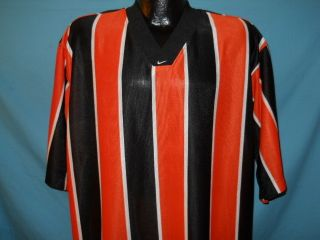 Vtg Nike Orange Black Striped Soccer Jersey T Shirt L