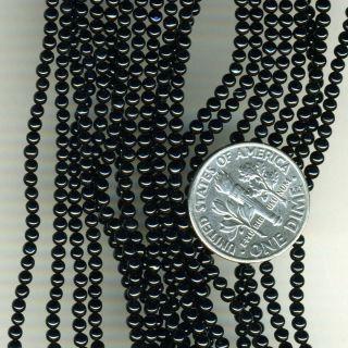 Black Onyx Itty Bitty 2mm Round Beads 16 Strand Tiny