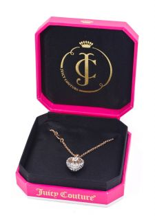 Juicy Couture Rose Gold Tone Pave Puffed Heart Wish Charm Necklace New