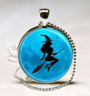 with Blue Moon Halloween Glass Tile Jewelry Necklace Pendant