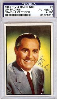 Jim Backus Autographed Signed 1953 Bowman Card PSA DNA 83321013