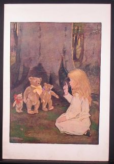 LG ANTIQUE 1908 PRINT, JESSIE WILLCOX SMITH, GOLDILOCKS AND THE THREE