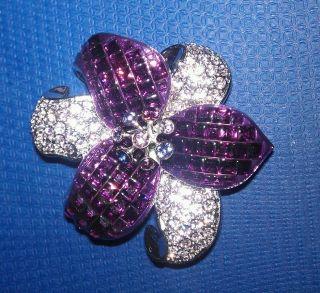 Swarovski Crystal Amethyst Flower Brooch