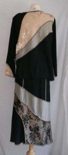 Spencer Alexis Black Floral Brown Shirt Skirt Suit Set Large L