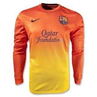 Nike Barcelona Soccer Jersey Away Orange Yellow 2012 2013 Long Sleeve