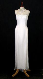 Jessica McClintock White Satin Rhinestones and Chiffon Dress Size 4