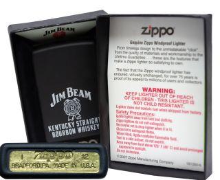 Zippo lighter 28072 jim beam kentucky straight black matte windproof