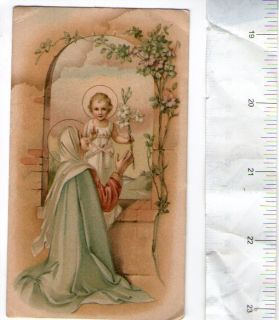 Jesus Christ Child Virgin Mary German Holy Card Poetry on The Back