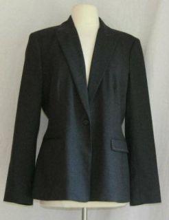 Womens Elie Tahari Gray Wool Blazer Jacket 12 Large L