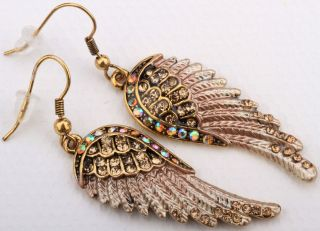Gold Brown Crystal Angel Wing Earrings EC23 Matching Ring Pin Pendant