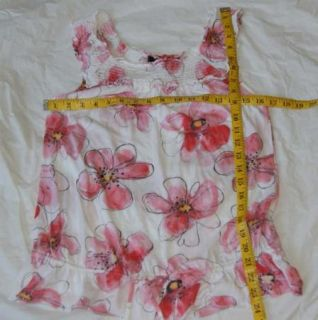 Anthropologie Ric Rac Floral Pink White Tank Top Small Babydoll Cotton