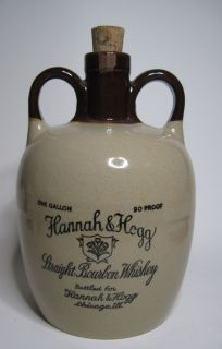 Antique Early Stoneware Whiskey Jug 1 Gallon Hannah & Hogg Chicago