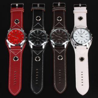 Oversized Unisex Mens Quartz Watch Wristwatch Leather Strap