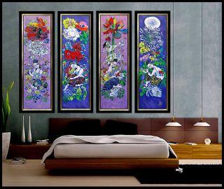 JIANG TieFENG Original Signed 4 SERIGRAPH Canvas ART Painting CHINESE