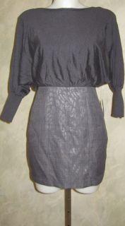 Jessica Simpson Short Batwing 2 Fer Gray Dress Sz 12 $148
