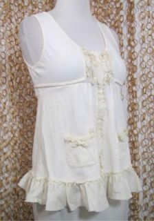 Pinkerton Anthropologie Womens Cute Ivory Sleeveless Tank Top Ruffle