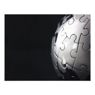 Chrome globe with black background personalized announcements