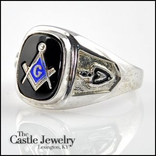 Mens White Gold Masonic Ring Black Stone 10K Mason