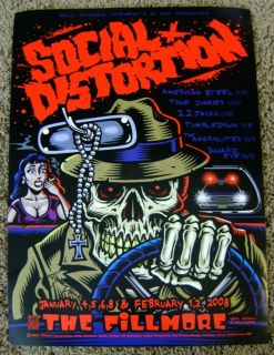 Signed by Artist Jimbo Phillips Social Distortion Fillmore Poster 2008