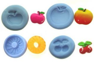 Apple Pineapple Cherry Fruit Flexible Push Silicone Mold Mould Polymer