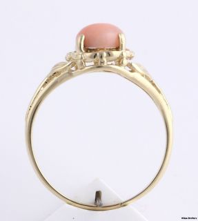Cabochon Stone Ring 14k Yellow Gold Pink Stone Estate Jewelry