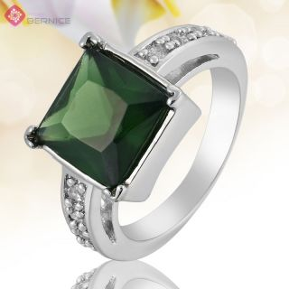 Jewelry Square Cut Green Emerald White Gold GP Jewelry Ring 7 O