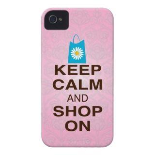 KEEP CALM and SHOP ON Pink Blue iPhone4/4s Case Case Mate iPhone 4