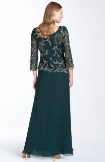 Kara Beaded Mock Two Piece Chiffon Dress Sz 16
