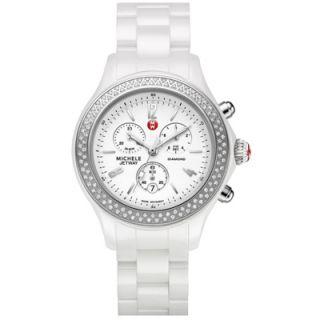 New Michele Ladies Diamond Jetway Chronograph White Ceramic Watch