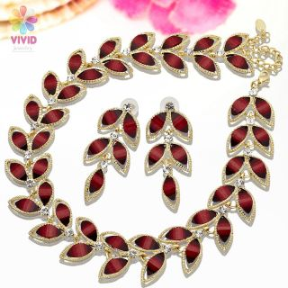 New Jewelry Set Dark Red Olive Leaf Shape 18K Gold Plated Necklace